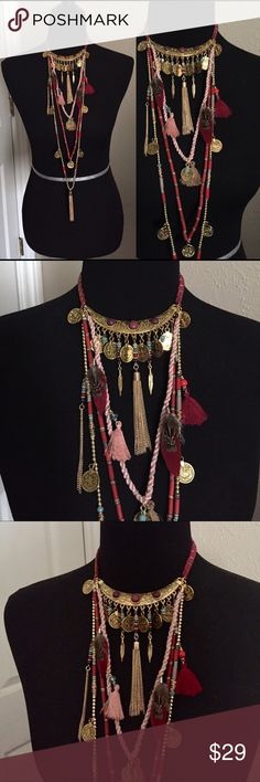 """Armenian/Festival Style Necklace Multi strand necklace features tassels, token coins, and feathers. Approximate 16"""" shortest strand, 42"""" longest knot including tassel. Lobster claw clasp. This is a lightweight costume jewelry piece. Brand new boutique retail. No trades, no off App transactions or negotiations. 👉🏽THIS IS ONE NECKLACE👈🏽     ❗️PRICE IS FIRM UNLESS BUNDLED❗️                 💙 5% off bundles 💚 Jewelry Necklaces"""