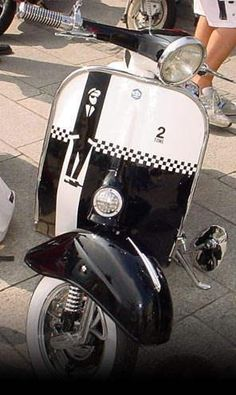Vespa with Chequered Flag Decoration
