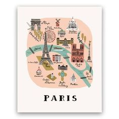 Rifle Paper Co Greeting Card - Paris Map Paris Map, London Map, Arc Triomphe, Louvre, Saint Louis, Rifle Paper Co, City Maps, Le Moulin, Illustrations