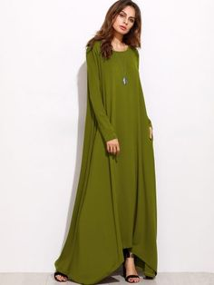 Green Long Sleeve Shift Maxi Dress