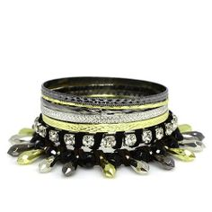 "Fashion Bangle Bracelet ; 2.75""Diameter; Tri Tone Metal with Clear Rhinestones; Black Faceted beads Eileen's Collection. $24.99. Save 50%!"