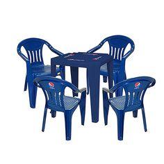 Kit - Mesa quadrada + 4 Cadeiras com braço encosto fechado - Pepsi - Parceiro…