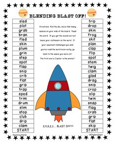 Space Racers is a fast pace partner game that is great for your independent centers or for your small group instruction. Focuses on blends and digraph words for first grade.