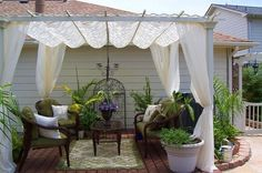Patio Landscaping Pictures & Ideas: Small Yard Oasis, very do-able. Backyard Swings, Backyard Patio, Backyard Ideas, Garden Ideas, Patio Oasis Ideas, Porches, Outdoor Rooms, Outdoor Living, Dream Garden