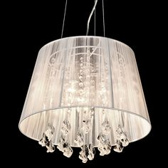 Kensington 3 Lamp Chandelier with White Shade contemporary and stylish lighting www.serendipityhomeinteriors.com