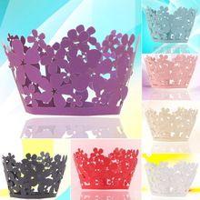 ASLT 12ks Hot vydlabaných Ploché Cupcake Wrappers Wedding Party dekorace Barevné…