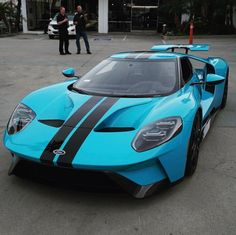 Ford GT painted in Porsche paint to sample Miami Blue w/ Black central stripes Photo taken by: @jordanmaron on Instagram Owned by: @jordanmaron on Instagram