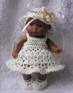 Felt Baby Shoes Pattern Free | Crochet pattern for Berenguer 5 inch baby doll - dress, hat, knickers ...