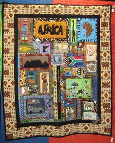 Quilts from Africa! I think that I will make a bulletin board like this for my world history class! Cute!