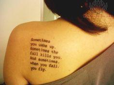 sometimes you wake up. sometimes the fall kills you. and sometimes, when you fall, you fly.