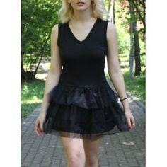 Stylish Women's Sleeveless Black V Neck A-Line Dress from $12.41 by NASTYDRESS