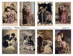 digital collage sheet French postcards romantic Victorian couples vintage photos download