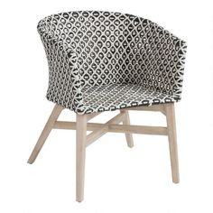 White and Black All Weather Trogir Outdoor Patio Dining Armchair: Black/White - All-Weather Wicker by World Market Outdoor Dining Chairs, Dining Arm Chair, Bar Chairs, Outdoor Seating, Dining Room, Outdoor Decor, Craftsman House Numbers, World Market Store, Sidewalk Cafe