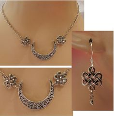 Silver celtic knot moon pendant necklace jewelry handmade new silver celtic moon pendant necklace earrings set new adjustablehttpwww aloadofball Image collections