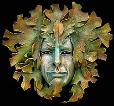 I love the ancient archetype of the Green Man - this one is lifesize and wearable. Ancient Symbols, Ancient Art, Sculpture Art, Sculptures, Holly King, Green Knight, Face Mold, Leaf Images, Mabon
