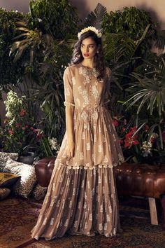 The bohemian print details and contemporary silhouettes of the latest Bhumika Sharma collection vibe mystically with the bliss of summers. Whatsapp us now for personal shopping experience! Stylish Dresses For Girls, Stylish Dress Designs, Dress Indian Style, Indian Dresses, Indian Designer Outfits, Designer Dresses, Designer Wear, Indian Wedding Outfits, Indian Outfits