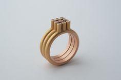 3x3 ring in rose met 9 diamanten
