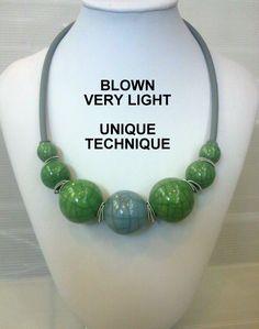 "Keramikketten - Halskette Raku-Keramik ""Soffiata Grigio Verde"" - ein Designerstück von Tatyana-jewellery bei DaWanda"