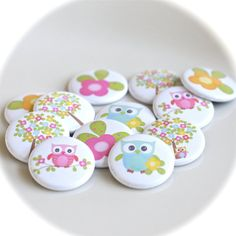 cute as can be owl flower and tree pins