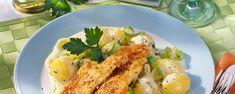 Schollenfilets in Sesam-Eihülle Rezept - REWE.de Potato Salad, Shrimp, Healthy Recipes, Healthy Food, Chicken, Ethnic Recipes, Low Carb, Drinks, Fitness
