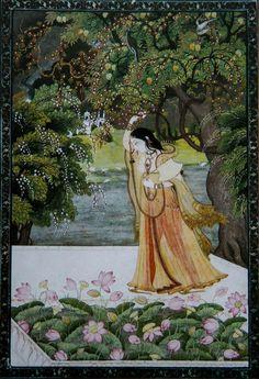 Lonely By the Lotus Blooms. Pahari. 1830. Bharat Kala Bhavan. Varanasi. @ambrin_hayat @DalrympleWill @Chemburstudio