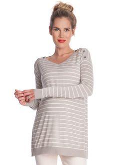 9fa576d6d699cd Seraphine - Skyla Bamboo Nursing Jumper in Taupe Stripes - ON SALE. Nursing  TunicNursing TopsMaternity NursingNursing ClothesMaternity ...