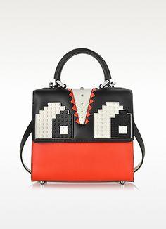 95e4b68e821d Les Petits Joueurs Mini Alex Eyes Color Block Leather Handbag at Forzieri