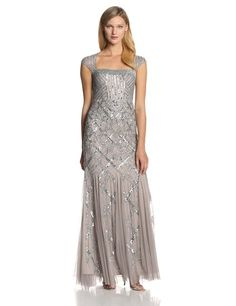 Adrianna Papell Womens Long Beaded Square Neck Dress With Cap Sleeves Platinum 8 *** Continue to the product at the image link-affiliate link. Dress Outfits, Casual Dresses, Fashion Dresses, Formal Dresses, Bride Dresses, Mom Dress, V Neck Dress, Party Gowns, Wedding Party Dresses
