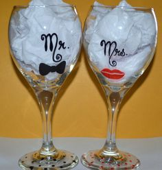 Mr And Mrs Wine Glass Set Of 2 Wedding Wine by DreamAndCraft, $30.00