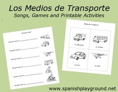 Kids learn Spanish transportation vocabulary with picture cards and activities. http://spanishplayground.net/spanish-transportation-vocabulary-printable-cards-activities/