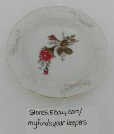 MINIATURE PORCELAIN ASHTRAY PAC JAPAN RED LETTERING MARK RED ROSES GOLD TRIM