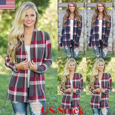 US New Womens Long Sleeve Plaid Cardigan Ladies Casual Jumpers Coat Tops Outwear #Unbranded #Cardigan #Casual