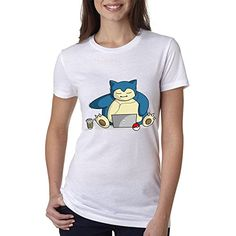Pokemon Characters Snorlax Lazy for Small White women T s…