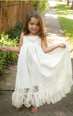 037f846ad2e9 Little Girls Dress, Lace Flower Children, Flower Girl Dresses, Wedding,  Baptism Dress, Ivory, White, Girl Dress