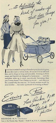 1946 Illustrated Cosmetics Ad, Evening in Paris Face Powder, Rouge, Lipstick by classic_film, via Flickr