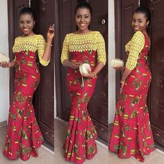 Creative Ankara Combination Gown Style http://www.dezangozone.com/2016/07/creative-ankara-combination-gown-style.html
