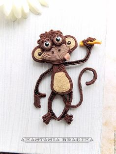Броши ручной работы. Ярмарка Мастеров - ручная работа. Купить Сутажная обезьянка. Handmade. Обезьянка, обезьянка брошь, сутажная вышивка Soutache Pendant, Soutache Necklace, Soutache Tutorial, Chinese Fabric, Ribbon Art, Beaded Animals, Button Crafts, Ribbon Embroidery, Hobbies And Crafts