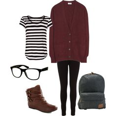 lazy fall outfit for school... minus the glasses, don't like tht particular shape @fiance9