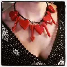 Hearts and Arrows Necklace Bakelite Reproduction Vintage Style