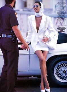 Editorial: Dress whites Magazine: Vogue US, May 1990 Photographer: Patrick Demarchelier Model: Yasmeen Ghauri