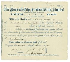 England, Norwich City Football Club Limited, 1910, £1 Share