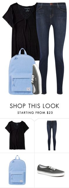 """""""back to school // 7"""" by adele-adik ❤ liked on Polyvore featuring Aéropostale, J Brand, Herschel Supply Co. and Vans"""