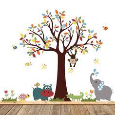 Etiqueta de pared etiqueta - etiqueta de la pared calcomanías infantiles - etiqueta de la pared de selva - niños - árbol de vivero - vivero