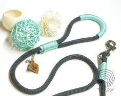 Rope dog leash. Chic Charcoal Gray climbing rope leash whipped with colorful cord. Mint-Peach-Beige. Rope Dog lead.