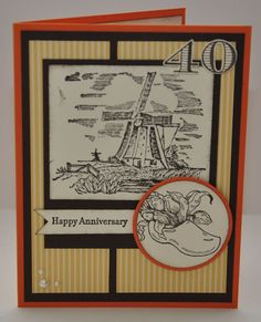 40th Anniversary card- Netherland stamp set by Stampin Up in autumn shades of orange, yellow and brown. Hollandse Kaarten