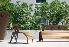Original design armchair / in wood / steel / outdoor GREEN PALACIO© II by Louis de Merindol CYRIA