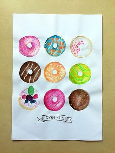 Donuts - Watercolor handmade paint with glitters #art #watercolor #creativelettering #brushlettering #etsy #etsyseller #etsyshop