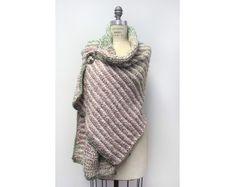 Crochet Kit - The Rustic Tuscan Shawl///2 balls Homespun® Yarn: Hepplewhite(300) 2 balls Homespun® Yarn: Sundae Stripes(220)//Hook L