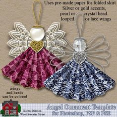 Karen Stimson--Angel Ornament Template - Click Image to Close Paper Ornaments, Christmas Ornaments To Make, Angel Ornaments, Christmas Angels, Christmas Holidays, Christmas Decorations, Birthday Decorations, Crochet Ornaments, Christmas Poinsettia