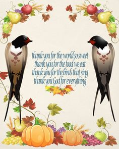 Thanksgiving Image, Fall Swallow Image, Bird Image,Thanksgiving Prayer Quote, Wall Art, Autumn Wall Décor, Family Room, Dining Room Décor by DigitalArtMovement on Etsy